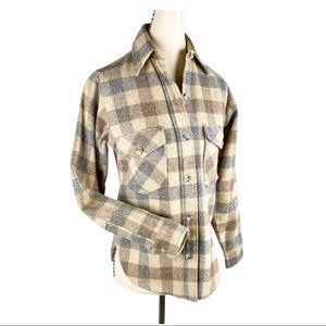 Woolrich VTG Wool Plaid Button Up Shirt Jacket